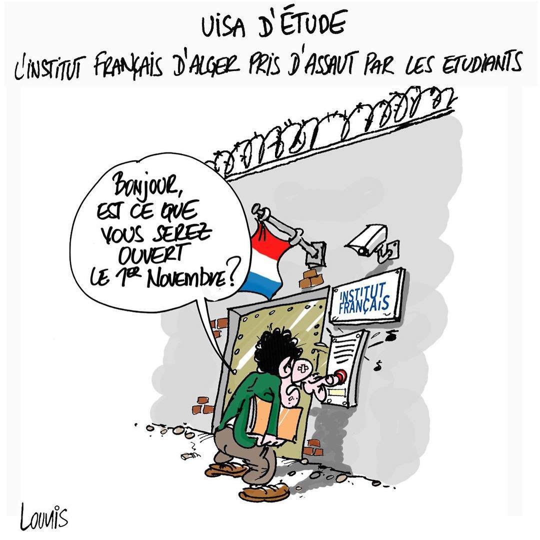 DessinDuJour par louniscartoon  Visa dtude linstitut franais pris dassauthellip